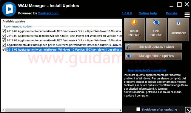 WAU Manager schermata degli aggiornamenti disponibili