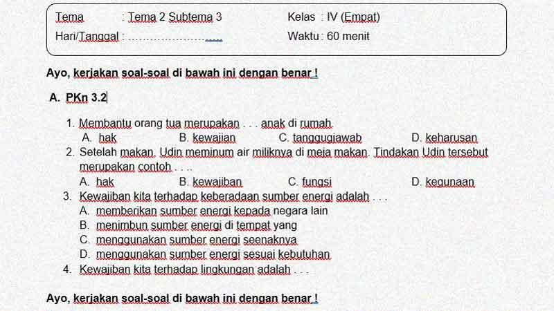 Latihan Soal Ulangan Kelas 4 Tema 2 Subtema 3 + Kunci Jawaban