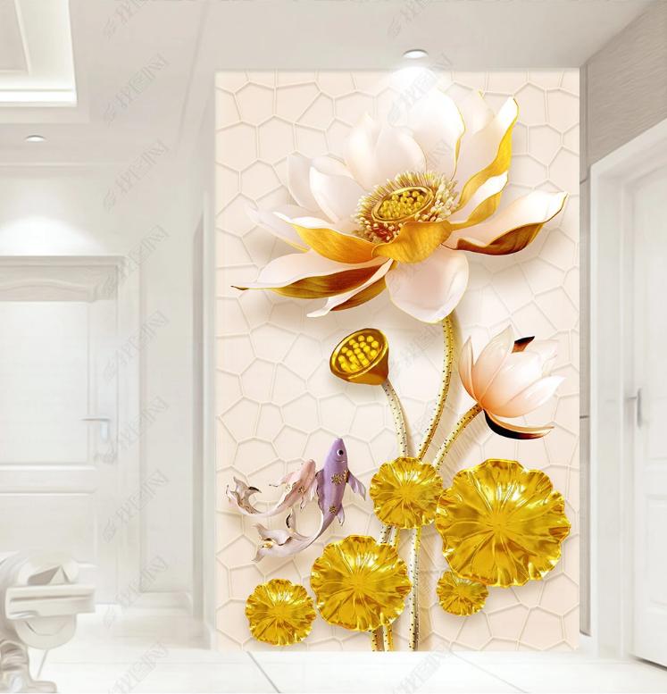 Tranh 3D Hoa Sen Vàng Trang Trí Sảnh Phòng Khách Sang Trọng
