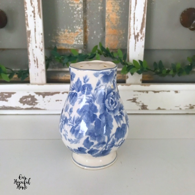 blue white salt shaker chippy window frame