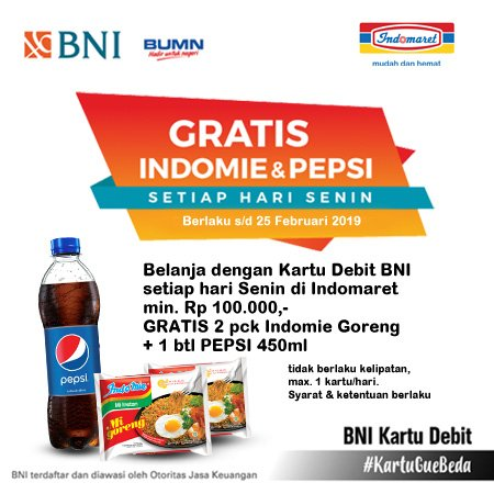 #Indomaret - Promo Gratis Indomie & Pepsi Setiap SENIN Bayar Pakai BTN (s.d 25 Jan 2019)