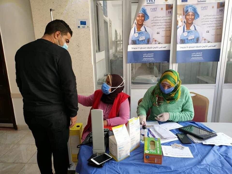 """"""" آليات الوقاية من فيروس كورونا"""" بمعهد السياحة والفنادق ببورسعيد"""