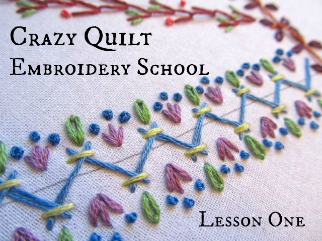Sweaterdoll embroidery school crazy quilt