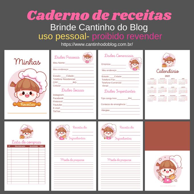 Caderno de receitas arquivo gratis para imprimir