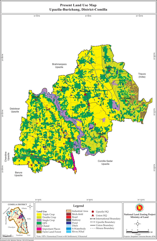 Burichang Upazila Mouza Map Comilla District Bangladesh