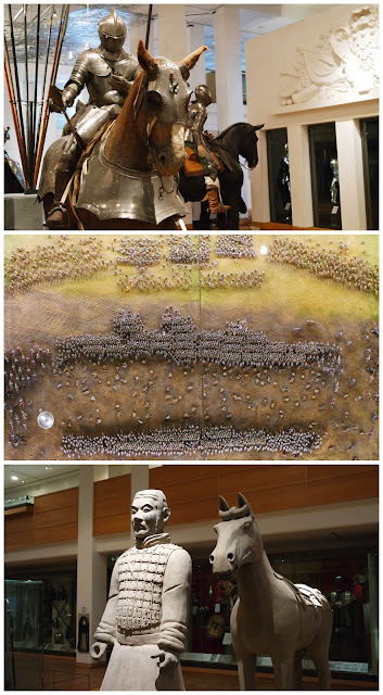 3 pictures lined vertically. 1: a knight on a brown horse, both in armour, 2: a miniature battlefield seen from above, 3: a recreation terracotta warrior and horse