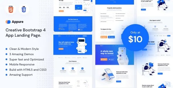 Sass & Mobile Application HTML5 Landing Page Template