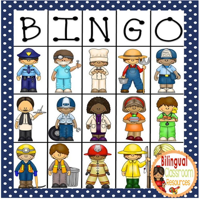 Bingo de las profesiones y los oficios: Includes calling cards and playing cards.