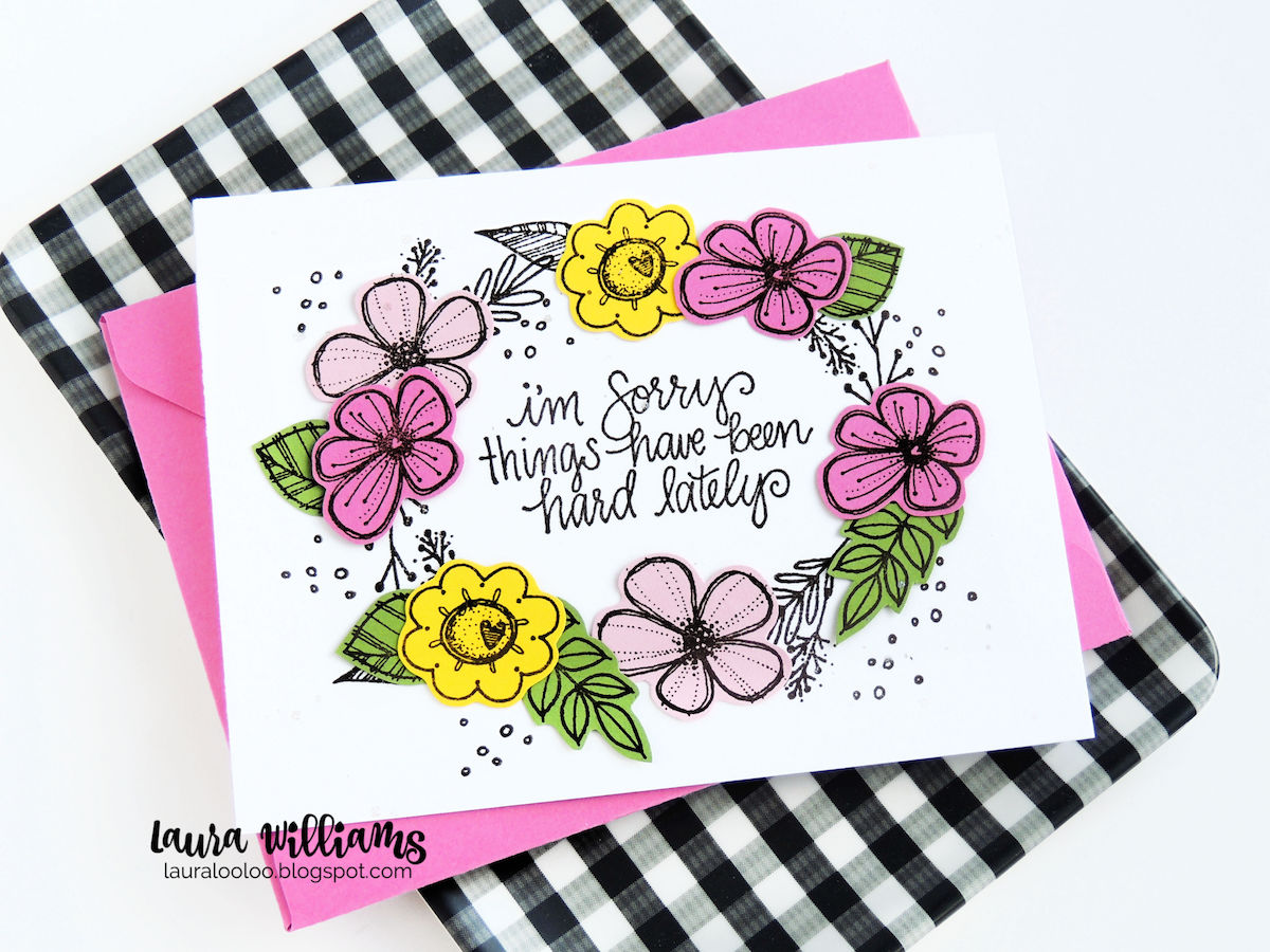 Make a floral handmade card with stamps from Impression Obsession. Fussy cut flowers and make into a wreath shape on a clean and simple card with bright colors. #cardmaking #iostamps #lauralooloo