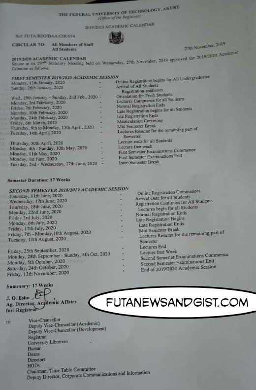 FUTA 2019/2020 Academic Calendar