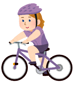 サイクリングをする人のイラスト(白人女性)