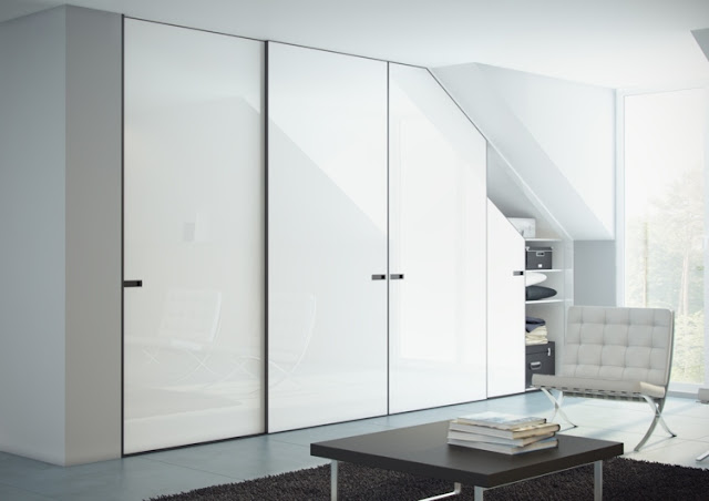 Modern Cupboard under slope with white sliding door