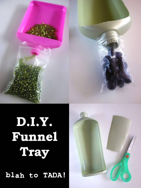 D.I.Y. funnel tray, how to recycle a lotion bottle, turn a lotion bottle into a funnel tray, crafty recycling, tools for crafting, blah to TADA, funnel tray DIY