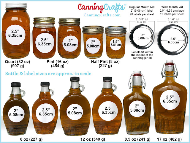 maple syrup bottle label size chart | CanningCrafts.com