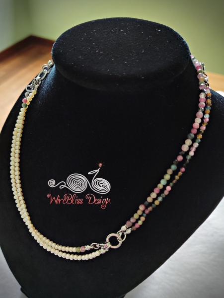 Tourmaline and Pearl Face Mask, Eyeglasses Strap as Layered Necklace, pearl section visible