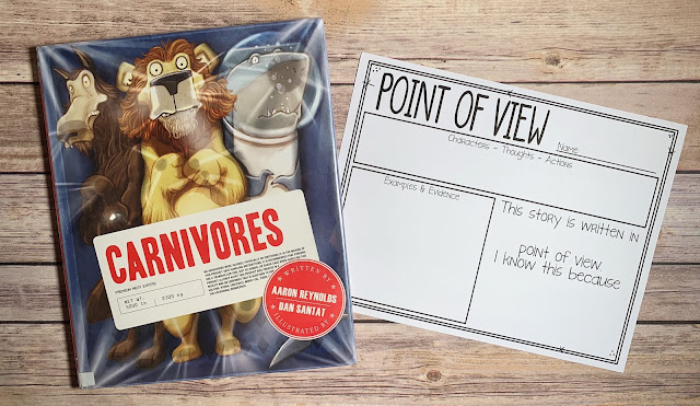 "Mentor Text with text ""Carnivores"" and Graphic Organizer with text ""Point of View"""