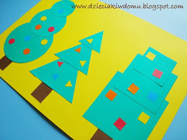 choinki i drzewka z figur geometrycznych dla dzieci