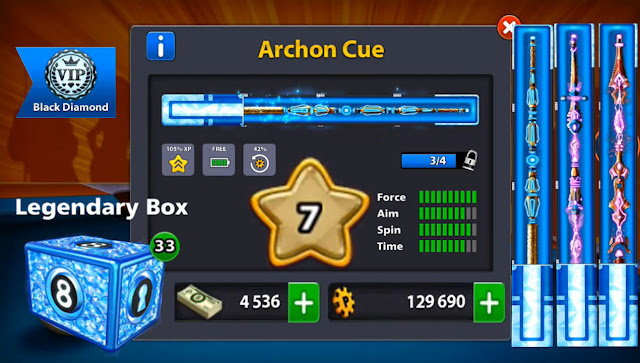 cue 8 ball pool 7 level 7 cash 4536 Legendary Boxes 33
