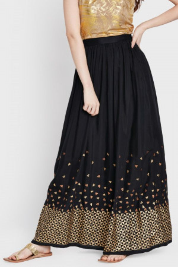 Black Print Maxi Skirt
