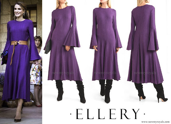 Queen Rania wore ELLERY Conrad ribbed stretch-knit midi dress