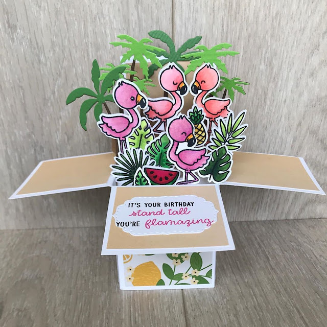Sunny Studio Stamps: Fabulous Flamingos Customer Card by Sabrina Leavell