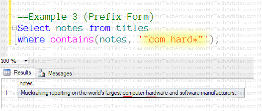Full Text Query Contains with PrefixForm2