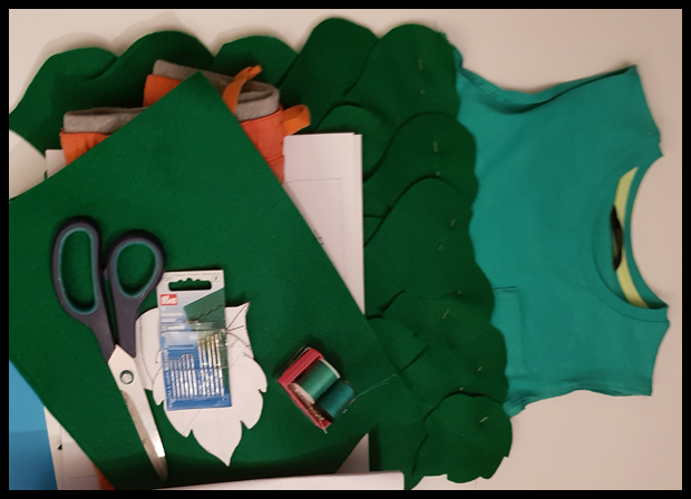 Materials used for making a Child's Branch Troll Costume