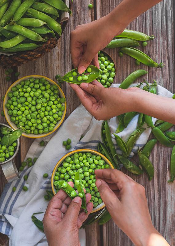 Green pea still life photography