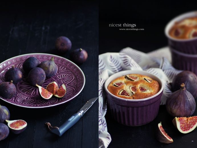Feigen auf violettem Teller Feigen Soufflé Feigen Dessert