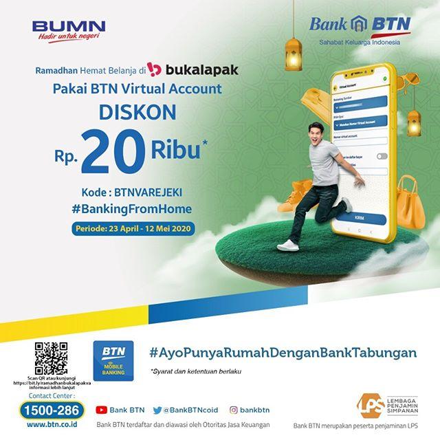 #BankBTN - #Promo Diskon 20K Min Belanja 350K di Bukalapak (s.d 12 Mei 2020)