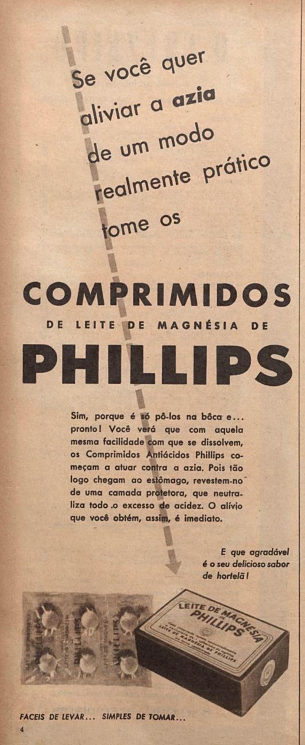 Propaganda antiga do Leite de Magnésia de Philips veiculada em 1955
