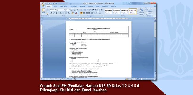 Soal PH (Penilaian Harian) K13 SD Kelas 1 2 3 4 5 6 Lengkap