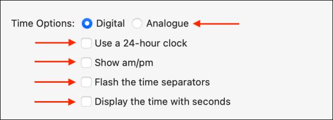 """قائمة """"خيارات الوقت"""" في نظام التشغيل Mac."""