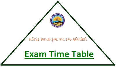 Kachchh University Odd Sem Time Table 2018
