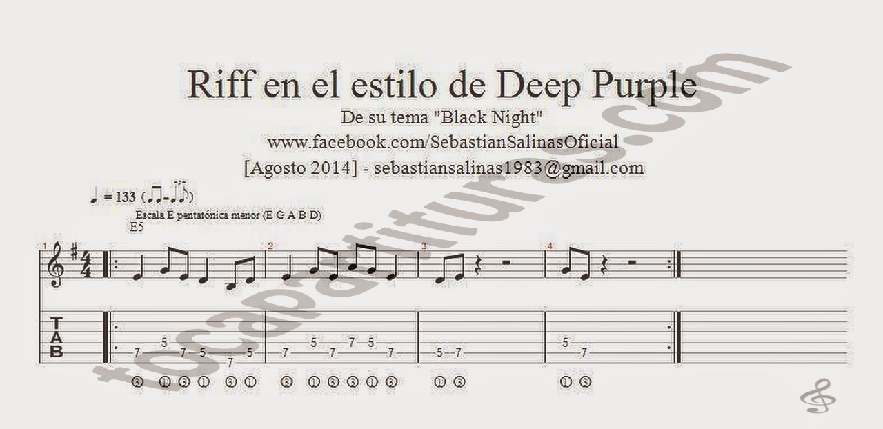 Tablaturas del Riff Black Night de Deep Purple Partitura Tabs Sheet Music for Guitar Beginners