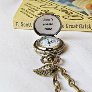two cheeky monkeys pocketwatch necklace don't waste time quote leaf charm