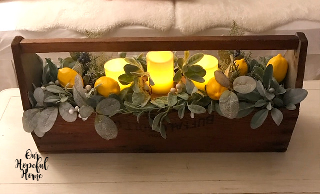 illuminated LED candles rustic wooden tool box coffee table centerpiece