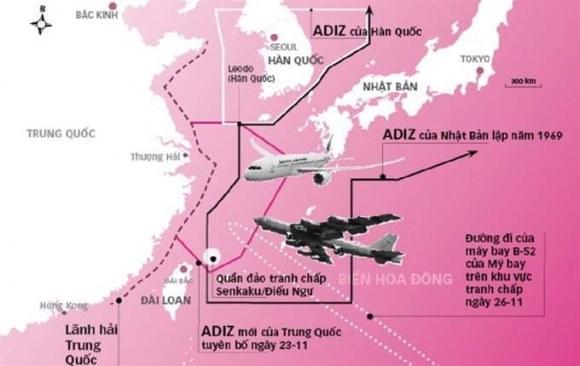 Trung Quốc ngang ngược tham vọng ADIZ bao phủ toàn bộ Đông Sa, Hoàng Sa và Trường Sa