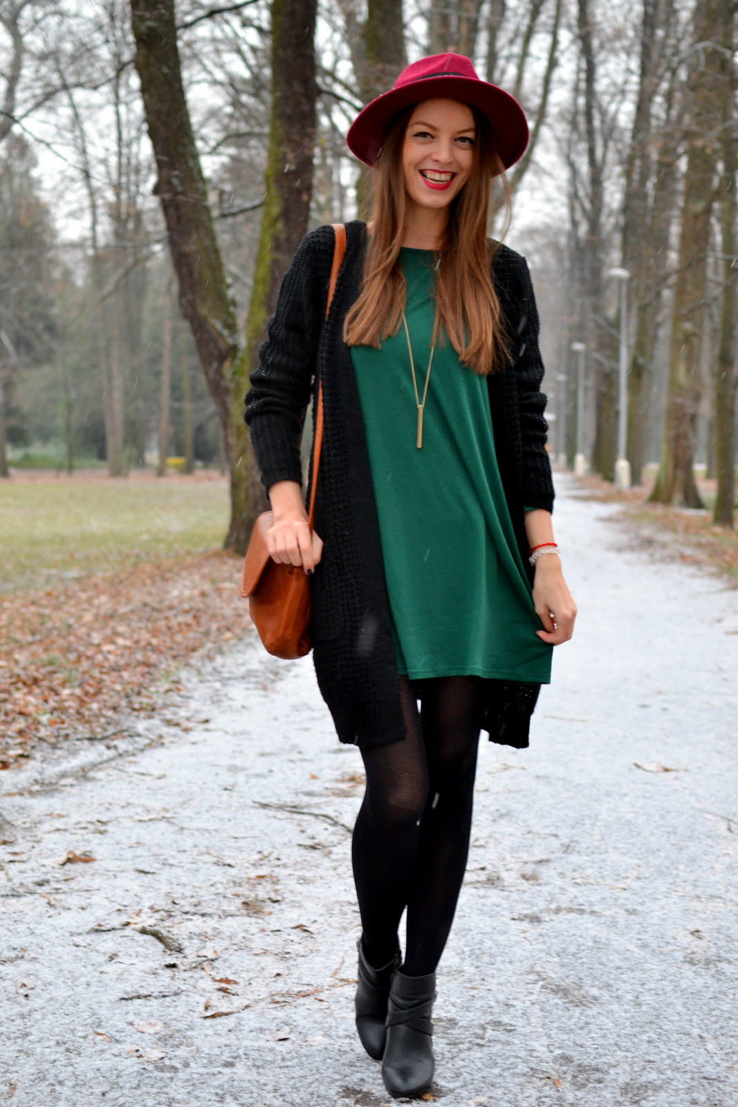 34f8933439c dress  HERE cardigan  HERE bag  HERE hat  HERE tights  f f boots  humanic  necklace  h m lipstick  chanel. Mademoiselle Iva ...