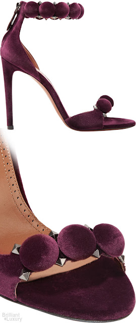 Brilliant Luxury♦ALAÏA Bombe studded velvet sandals