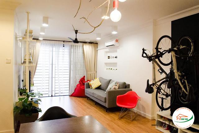 Nội thất phòng khách đơn giản với không gian mở
