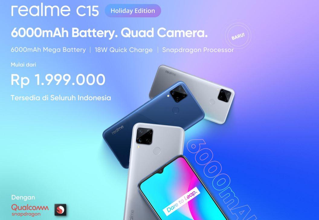 Harga dan Spesifikasi Realme C15 Holiday Edition Bertenaga Snapdragon 460