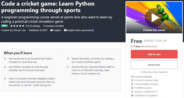 [100% Off] Code a cricket game: Learn Python programming through sports| Worth 199,99$