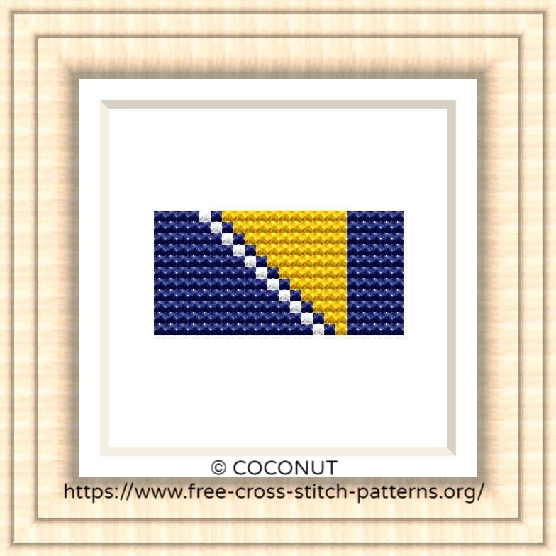 NATIONAL FLAG OF BOSNIA AND HERZEGOVINA CROSS STITCH CHART