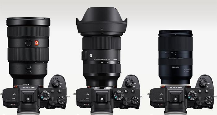 Сравнение габаритов объективов Sigma 24-70mm f/2.8, Sony 24-70mm f/2.8 GM и Tamron 28-75mm f/2.8