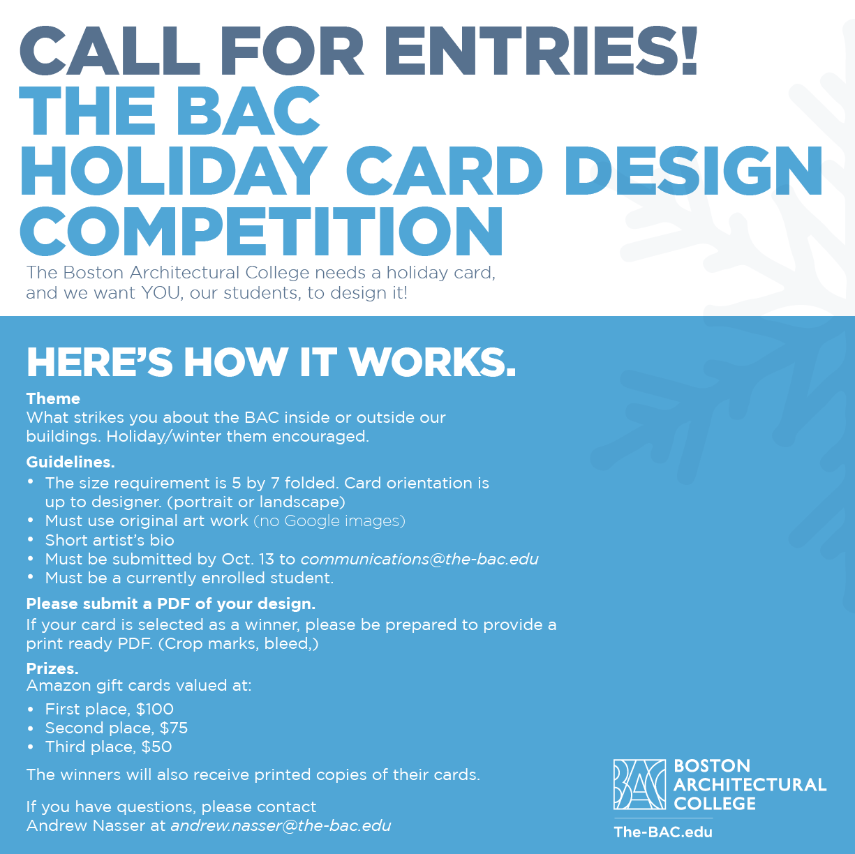 holiday card design competition deadline to submit 10 13 17