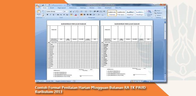 Contoh Format Penilaian Harian Mingguan Bulanan RA TK PAUD Kurikulum 2013
