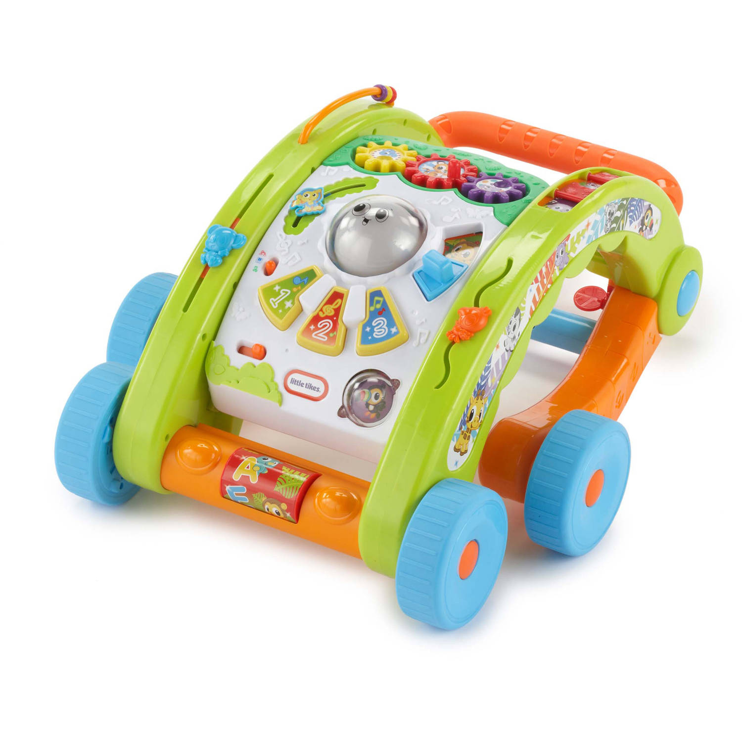 """Piano keys Spinning ball 2 animal clickers Gears that turn Peek a boo slider that roars and has a mirror Requires 3 """"AA"""" alkaline batteries included"""