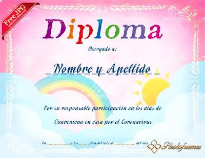Plantilla de diploma por buena labor en cuarentena
