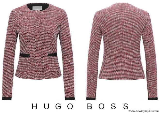 Queen Letizia wore Hugo Boss multi coloured jacquard regular fit tailored jacket